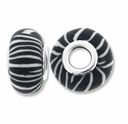 MIOVI™ Polymer Clay Beads w/Silver Plated Grommet,15x10mm Black & White Stripe Design Rondelle Beads (6PK)