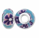 MIOVI™ Polymer Clay Beads w/Silver Plated Grommet,15x10mm Lt Blue & Purple Floral Design Rondelle Beads (6PK)