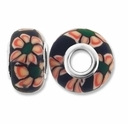 MIOVI™ Polymer Clay Beads w/Silver Plated Grommet,15x10mm Multi-Color  Floral Design Rondelle Beads (6PK)