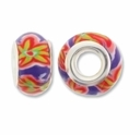 MIOVI™ Polymer Clay Beads w/Silver Plated Grommet,14x9mm Purple Mixed Flower Rondelle Beads (6PK)