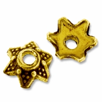 Antiqued Gold Dotted Star Bead Caps (10PK)