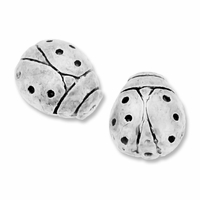 Antiqued Silver 11mm Lady Bug Beads (10PK)