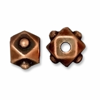 Antiqued Copper 6mm Faceted Cube Bead (1PC)