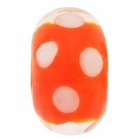 15mm Orange w/White Dots Rondel Lampwork Beads (5PK)