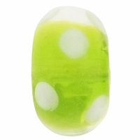 15mm Lime w/White Dots Rondel Lampwork Beads (5PK)