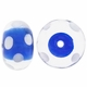 15mm Blue w/White Dots Rondel Lampwork Beads (5PK)