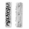Antiqued Silver 20x4.5mm 3 Hole Swirl Bar Spacer Beads (10PK)