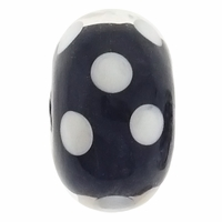 15mm Black w/White Dots Rondel Lampwork Beads (5PK)