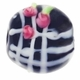 19mm Black w/White & Rose Design Disc Lampwork Beads (5PK)