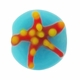 16mm Blue w/Starfish Design Disc Lampwork Beads (5PK)
