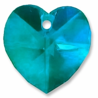 Blue Zircon 10mm Swarovski 6202 Crystal Heart Pendants