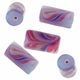 21mm Purple Swirl Design Tube Lampwork Beads (5PK)