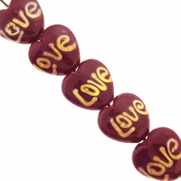 18mm Love Heart Lampwork Beads (5PK)