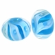 9x14mm Blue Swirl Rondel Lampwork Beads (5PK)