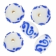 13mm White w/Blue Art Deco Rondel Lampwork Beads (5PK)