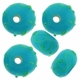 13mm Aqua w/Lime Art Deco Rondel Lampwork Beads (5PK)