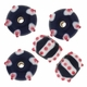 13mm Black w/White & Pink Raised Design II Rondel Lampwork Beads (5PK)