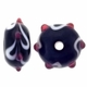 13mm Black w/White & Pink Raised Design III Rondel Lampwork Beads (5PK)