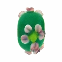 13mm Green w/Pink Raised Floral Rondel Lampwork Beads (5PK)