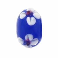 13mm Blue w/White Raised Floral Rondel Lampwork Beads (5PK)