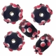 13mm Black w/Pink Raised Floral Rondel Lampwork Beads (5PK)