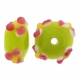13mm Lime w/Pink Raised Floral Rondel Lampwork Beads (5PK)