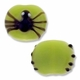 Black Spider Green Flat Round 14x17mm Lampwork Glass Beads (4PK)