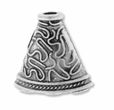 Antiqued Silver 1 to 3 Decorative 23mm Bead Cone (2PK)