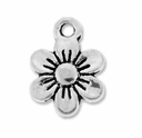 Antiqued Silver 12mm Flower Charms (10PK)