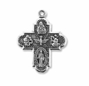 Antiqued Silver 30mm 4 Way Catholic Medal Charms (10PK)