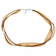 Lt Brown Silk Organza Ribbon 18 Inch Necklace w/ Double Cord