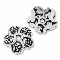 Antiqued Silver 10mm Leaf Bead Caps (20PK)