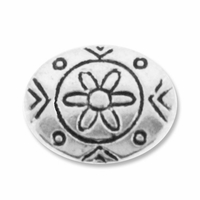 Antiqued Silver 10mm Flower Pattern Oval Disc  Bead (1PC)