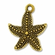 Antiqued Gold Plated 22mm Pave Starfish  Charm (1PC)