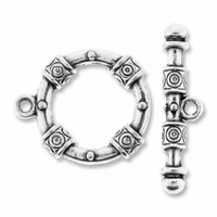 Antiqued Silver 22mm Fancy Bali Style Round Toggle Clasp (5PK)