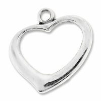 Antiqued Silver 18mm Open Heart Pendants (10PK)