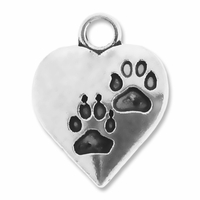 Antiqued Silver 16mm Heart w/Paws Charms (10PK)