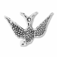 Antiqued Silver 22mm Bird Charms (10PK)