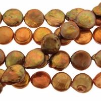 Copper 12-13mm Coin Pearl Bead Strand