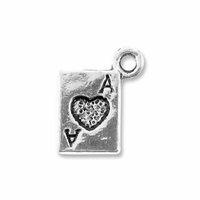 Antiqued Silver 10mm Ace Card Charm (10PK)