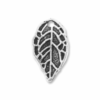 Antiqued Silver Leaf Charm (10PK)