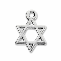 Antiqued Silver 16mm Star of David Charm (10PK)