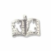 Antiqued Silver Christian Book Charm (10PK)