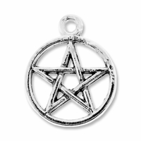 Antiqued Silver 25mm Pentagram Charm (5PK)