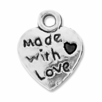 Antiqued Silver 12mm Made with Love Charms (10PK)