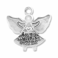 Antiqued Silver 18mm Angel Charms (10PK)