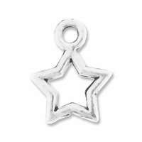 Antiqued Silver 10mm Open Star Charms (20PK)