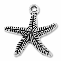 Antiqued Silver 25 Starfish Charm  (5PK)