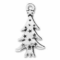 Antiqued Silver Christmas Tree Charms (10PK)