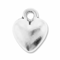 Antiqued Silver 11mm Puff Heart Charms (10PK)